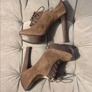 Michael Kors Brown leather lace up platform heels